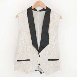Formal Unisex Vest Coofandy Gold and White Floral